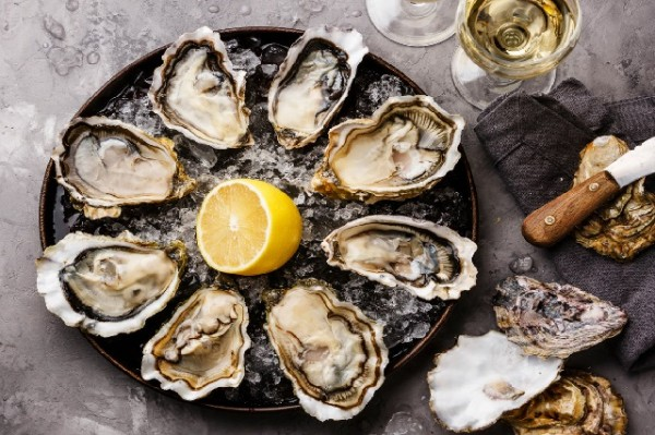 Opened Oysters Fines de Claire on plate and white wine on gray concrete texture background